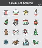 Значок фестиваля рождества установил 5 Плоский дизайн цвета Стоковое Изображение RF