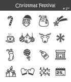 Значок фестиваля рождества установил 2 Стоковое Фото