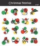 Значок фестиваля рождества установил 4 Стоковые Фотографии RF