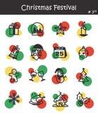 Значок фестиваля рождества установил 3 Стоковая Фотография