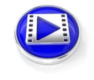 Значок фильма на лоснистой голубой круглой кнопке бесплатная иллюстрация