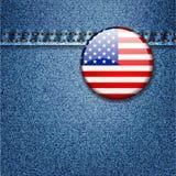 Значок флага США на ткани джинсовой ткани джинсыов   Стоковая Фотография
