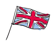 Значок флага Великобритании нарисованный рукой изолированный Стоковая Фотография