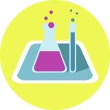 Значок химической бутылки плоский Стоковое фото RF