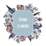 Значок цветков весны над дикими цветками весны Нарисованная рукой иллюстрация вектора иллюстрация вектора