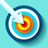 Значок цели тома в плоском стиле на предпосылке цвета Белая стрелка в разбивочной цели Элемент дизайна вектора для вас projec дел Стоковые Фотографии RF