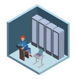 Значок центра данных, системный администратор Укомплектуйте личным составом сидеть на компьютере в комнате сервера Иллюстрация ве Стоковое фото RF