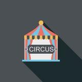 Значок цирка плоский с длинной тенью Стоковые Изображения RF