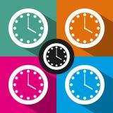 Значок часов плоский Стоковые Фото