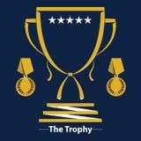 Значок чашки трофея плоский Стоковая Фотография