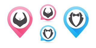 Значок человека и женщины, вектор изолированный плоский символ дизайна Отобразьте указатели Мужчина вектора и женский комплект зн иллюстрация штока