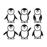 Значок черного милого смешного пингвина установленный плоский Стоковое фото RF