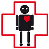Значок черного человеческого силуэта медицинский остановки сердца Стоковое фото RF