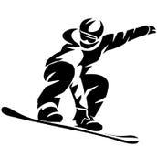 Значок черного Snowboarder плоский на белой предпосылке иллюстрация вектора