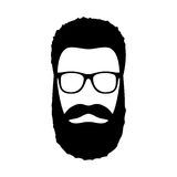 Значок человека битника Стиль причёсок, борода и стекла в плоском стиле Стоковое Фото