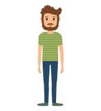 Значок человека шаржа Дизайн персоны по мере того как вектор свирли предпосылки декоративный графический стилизованный развевает иллюстрация штока
