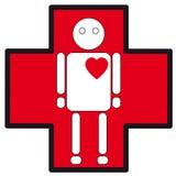 Значок человеческого белого силуэта медицинский остановки сердца на кресте Стоковое фото RF