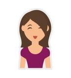 Значок шаржа женщины Дизайн персоны по мере того как вектор свирли предпосылки декоративный графический стилизованный развевает иллюстрация штока