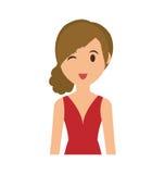 Значок шаржа женщины Дизайн персоны по мере того как вектор свирли предпосылки декоративный графический стилизованный развевает иллюстрация вектора