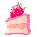 Значок шаржа куска торта губки клубники с вареньем и ягода sauce Стоковое фото RF
