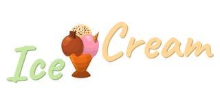 Значок шаржа мороженого Логотип и ярлык Sundae лета для льда Cre бесплатная иллюстрация