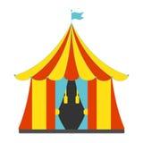 Значок шатра цирка плоский Винтажная иллюстрация вектора Стоковые Изображения