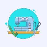 Значок швейной машины Знак вышивки Линейные значки на белой предпосылке вектор Стоковое фото RF