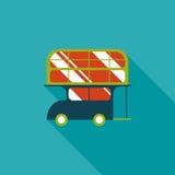 Значок шины транспорта плоский с длинной тенью Стоковое Изображение RF
