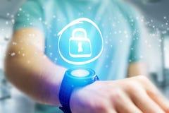 Значок шкафчика идя вне интерфейс smartwatch - concep технологии Стоковое Изображение