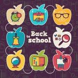 Значок школы установленный с формой яблока иллюстрация штока
