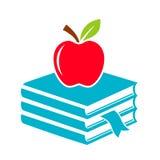 Значок школы Яблока и книг иллюстрация вектора