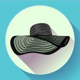 Значок шляпы лета женщины Стоковые Фото