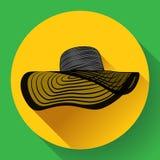 Значок шляпы лета женщины Стоковая Фотография