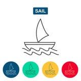 Значок шлюпки Логотип корабля Стоковое Изображение