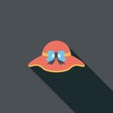 Значок шляпы женщин плоский с длинной тенью Стоковые Изображения