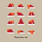 Значок шляпы Санты плоский Стоковая Фотография RF