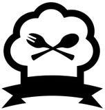 Значок шляпы шеф-повара с ложкой и вилкой Стоковая Фотография