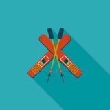 Значок лыжи и ручек плоский с длинной тенью Стоковое фото RF