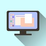 Значок экрана компьютера при длинная тень изолированная на оранжевой предпосылке Стоковая Фотография RF