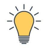 Значок электрической лампочки Знак идеи, думая концепция Стоковое Фото
