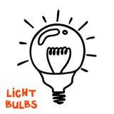 Значок электрической лампочки Концепция большой воодушевленности идей, нововведения, I Стоковые Изображения RF