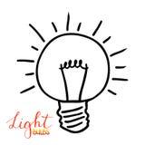 Значок электрической лампочки Концепция большой воодушевленности идей, нововведения, I Стоковое Изображение RF