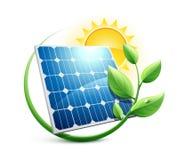 значок энергии панели солнечных батарей зеленый иллюстрация вектора