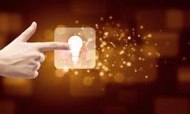 Значок электрической лампочки Стоковая Фотография