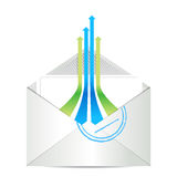 Значок электронной почты. Почта конверта с стрелками руководителя Стоковые Фото