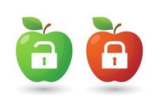 Значок Яблока установленный с lockpads Стоковые Фото