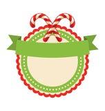 Значок ярлыка рождества круга плоский при тросточка конфеты изолированная на Whi иллюстрация вектора