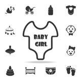 Значок Bodysuit девушки короткого рукава младенческий Комплект значков игрушек ребенка и младенца Графический дизайн значков сети Стоковое фото RF