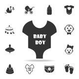 Значок Bodysuit мальчика короткого рукава младенческий Комплект значков игрушек ребенка и младенца Графический дизайн значков сет иллюстрация штока