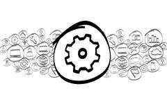 Значок Cogwheel смешал в облаке значка изолированном на предпосылке Стоковые Фотографии RF